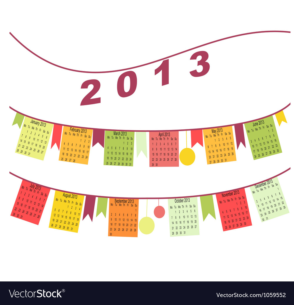Calendar for 2013 like flags vector | Price: 1 Credit (USD $1)