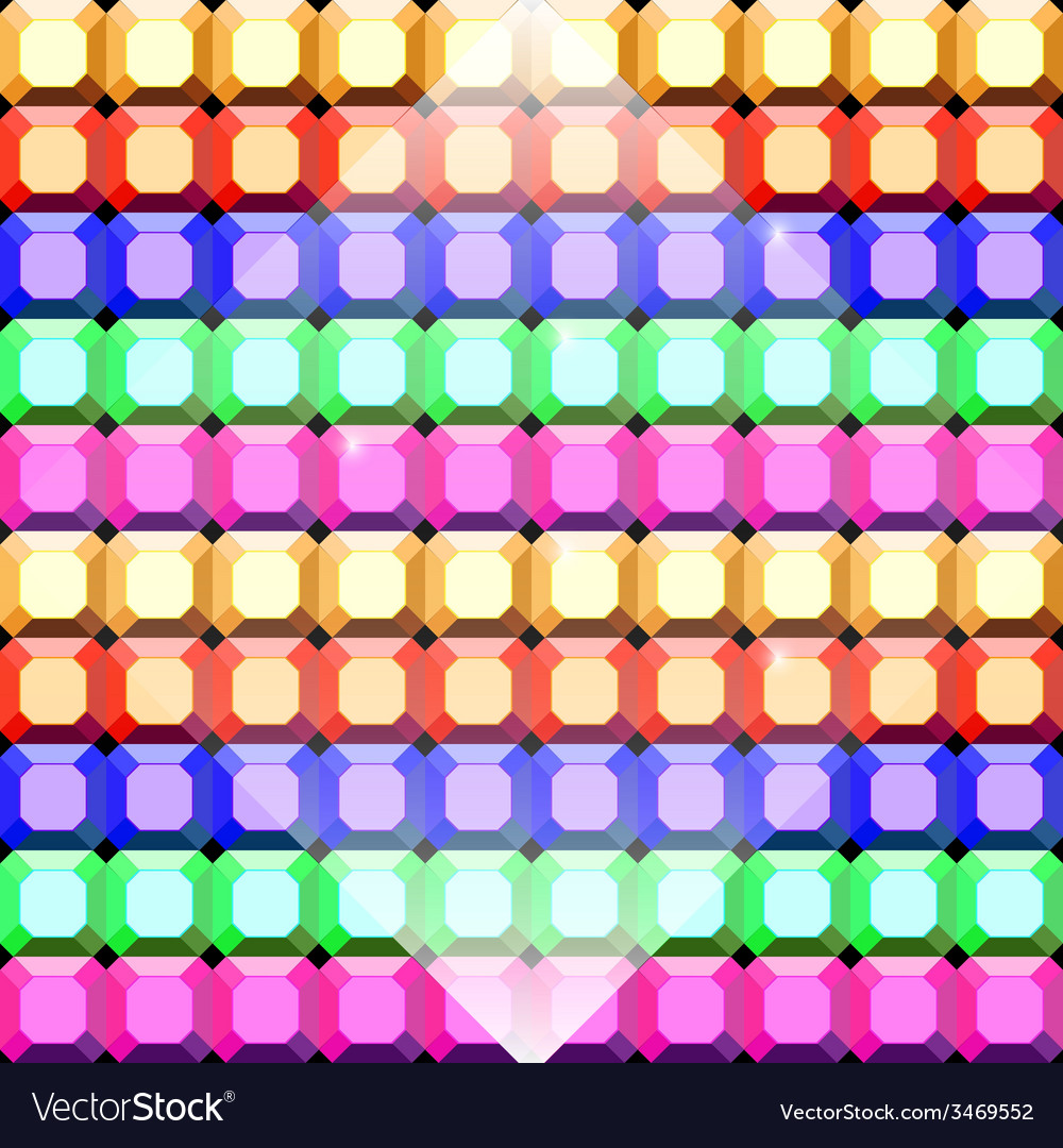 Colorful gem stone square cut pattern background vector | Price: 1 Credit (USD $1)