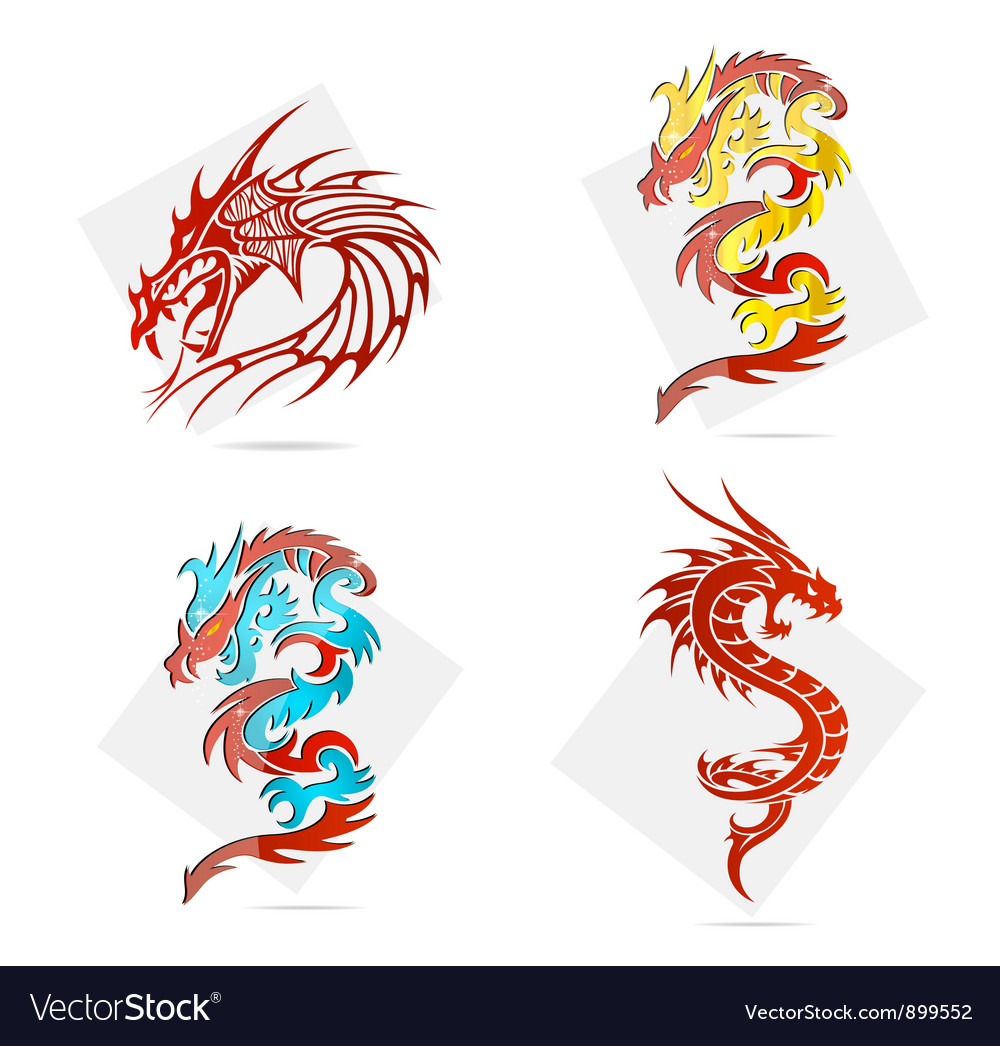 Glass creative elegance dragons symbols set vector | Price: 3 Credit (USD $3)
