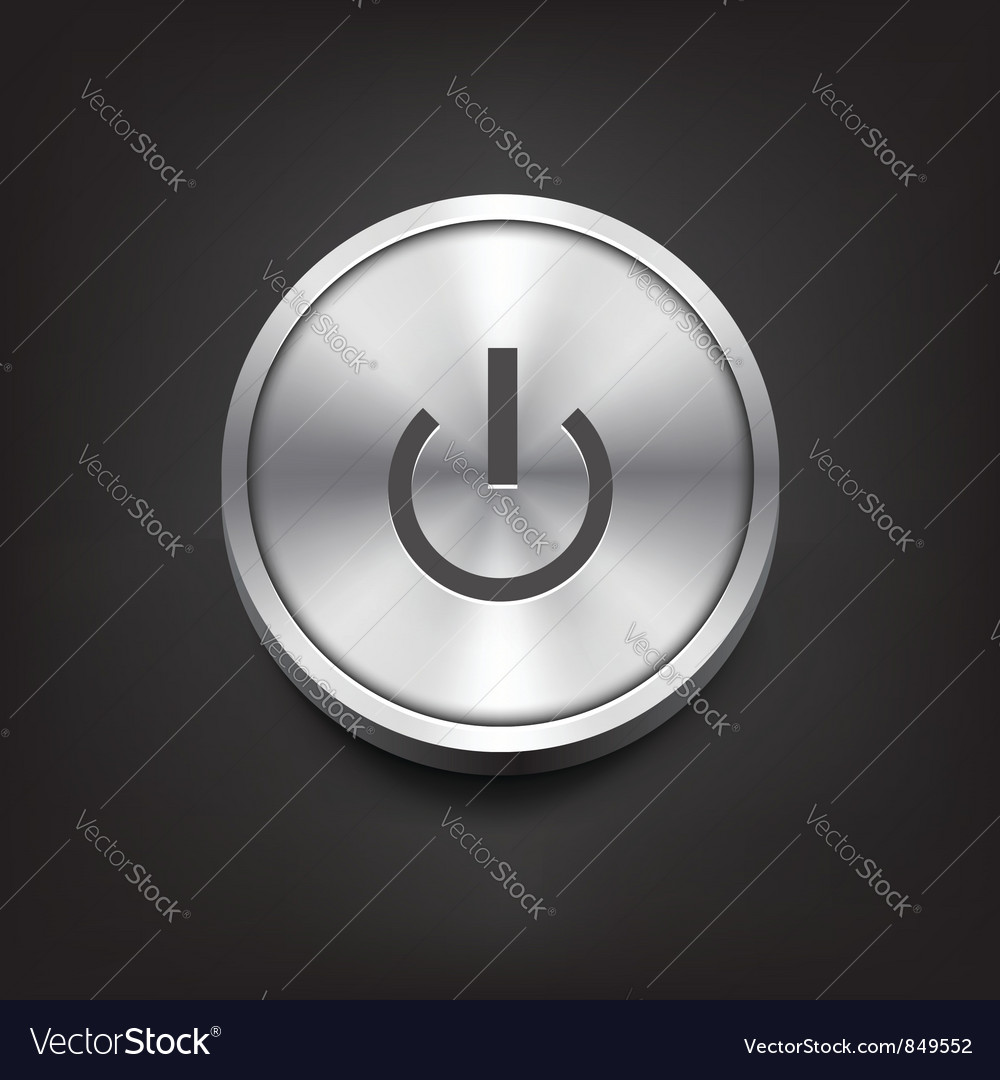 Metal power button vector | Price: 1 Credit (USD $1)