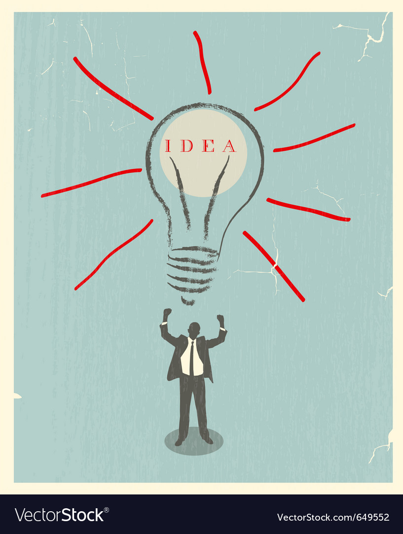 Of idea bulb retro poster vector | Price: 1 Credit (USD $1)