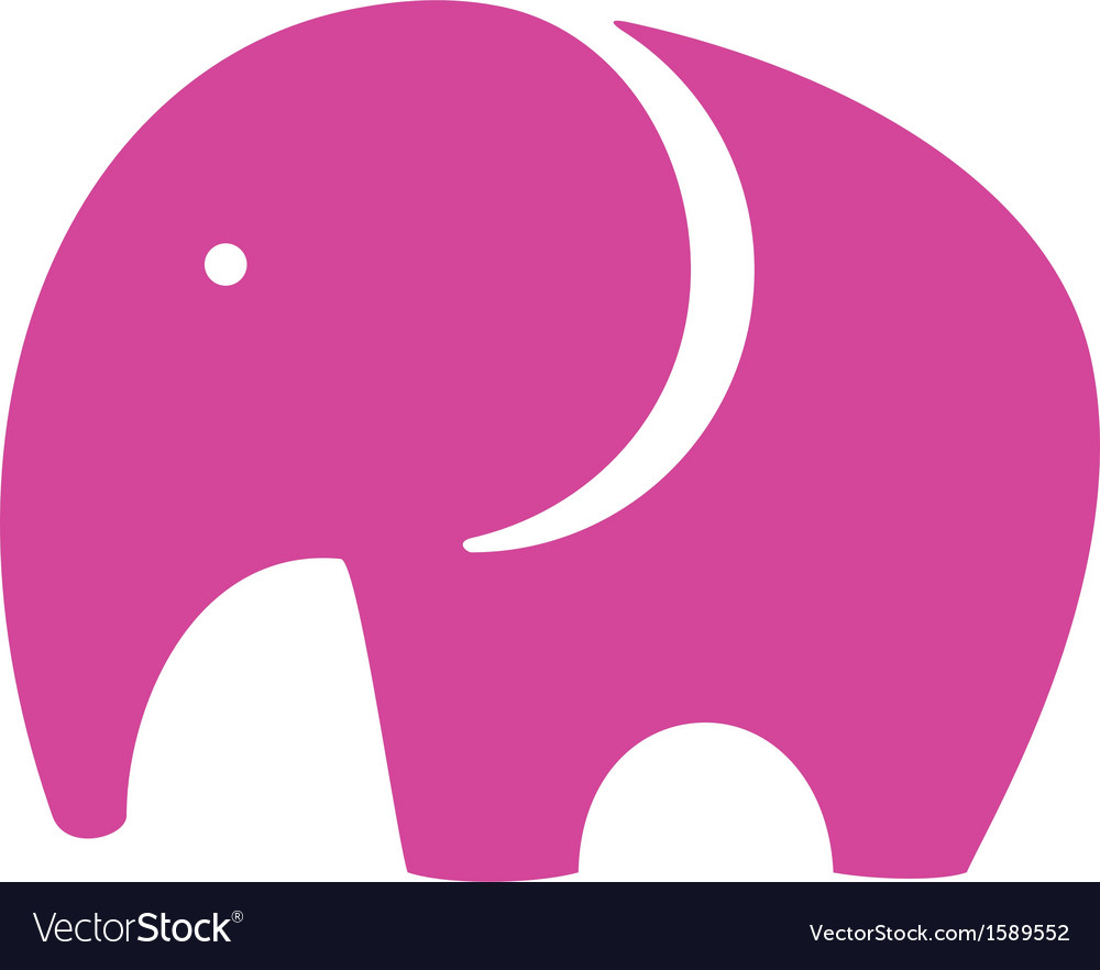 Pink elephant icon vector | Price: 1 Credit (USD $1)