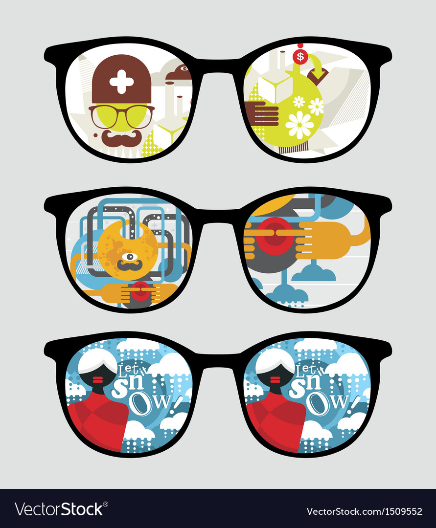 Retro sunglasses with abstract reflection in it vector | Price: 1 Credit (USD $1)