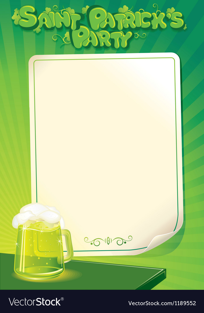 Saint patricks day party poster template vector | Price: 1 Credit (USD $1)