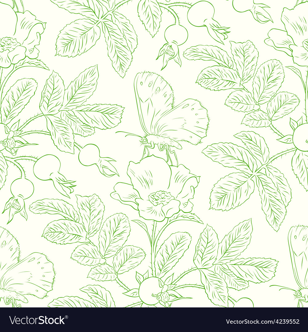 Seamless pattern with wild roses vector   Price: 1 Credit (USD $1)