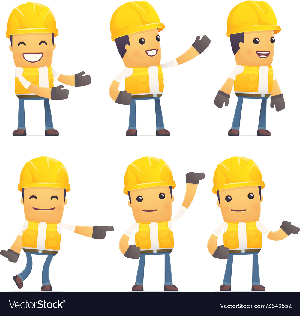 Set of contractor character in different poses vector | Price: 1 Credit (USD $1)