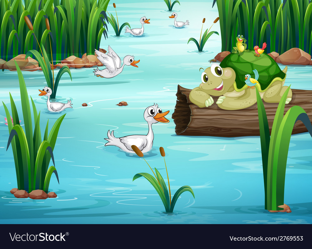 Animals and pond vector | Price: 1 Credit (USD $1)