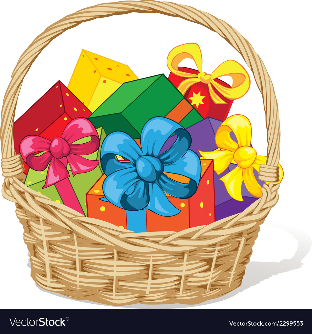 Basket full of gifts vector | Price: 1 Credit (USD $1)