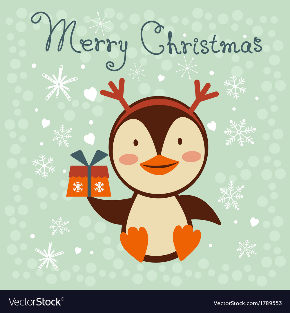 Christmas card with cute little penguin vector | Price: 1 Credit (USD $1)