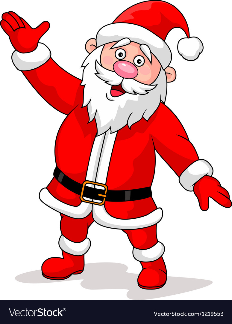 Cute santa cartoon waving vector | Price: 1 Credit (USD $1)