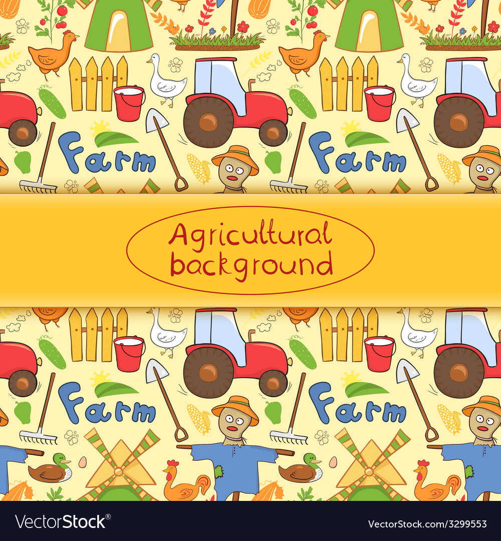 Farm elements in doodle style vector | Price: 1 Credit (USD $1)
