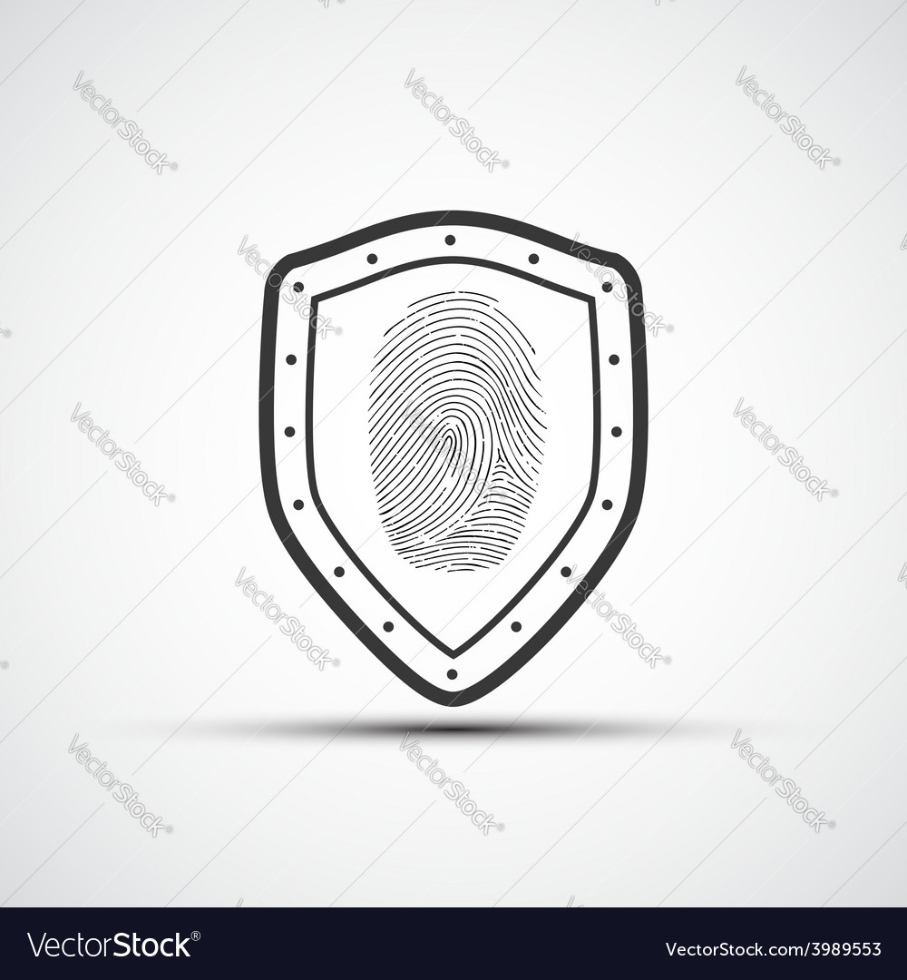 Icons metal shield with the fingerprint vector | Price: 1 Credit (USD $1)