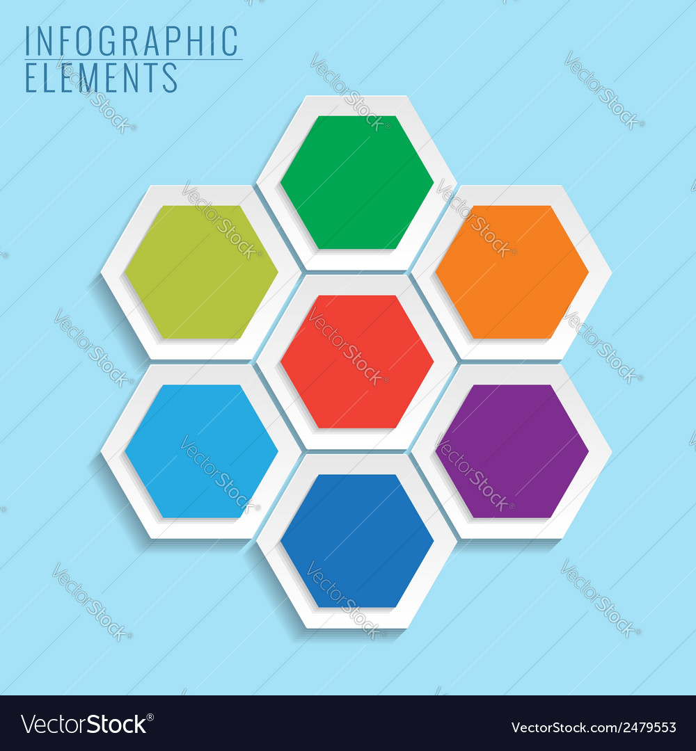 Infographic with honeycomb structure on the blue vector | Price: 1 Credit (USD $1)