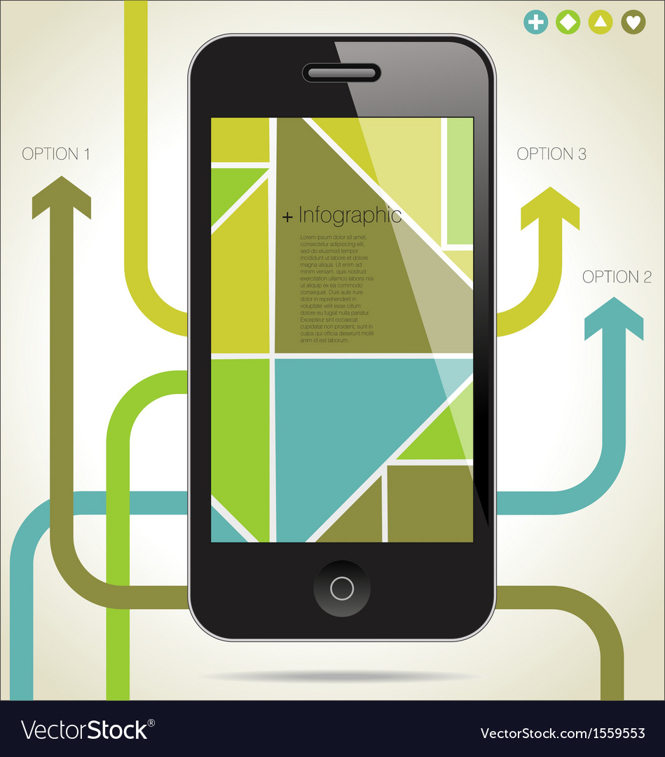 Modern infographic with a smartphone vector | Price: 1 Credit (USD $1)