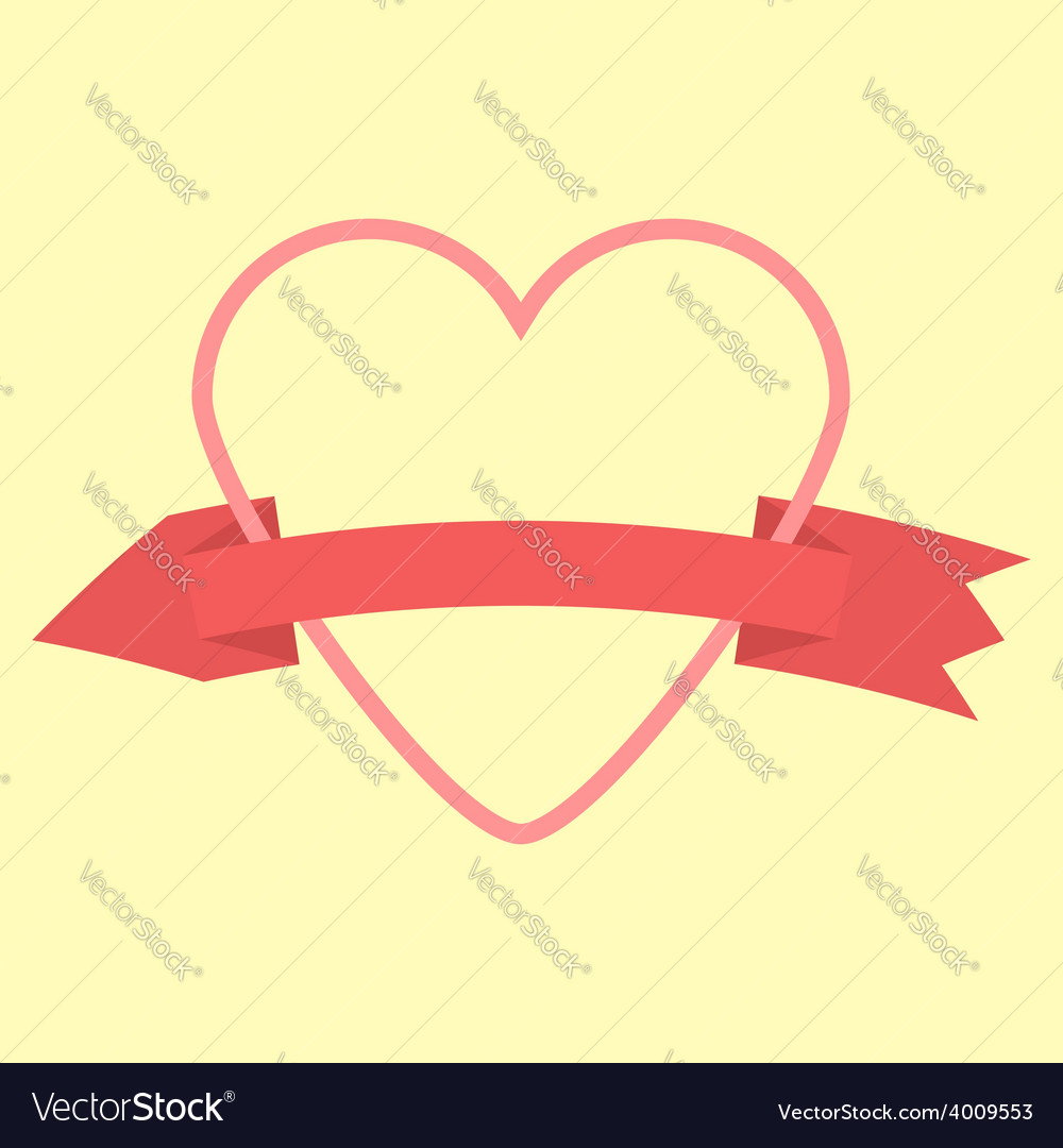 Outline heart and curved arrow-ribbon icon vector | Price: 1 Credit (USD $1)