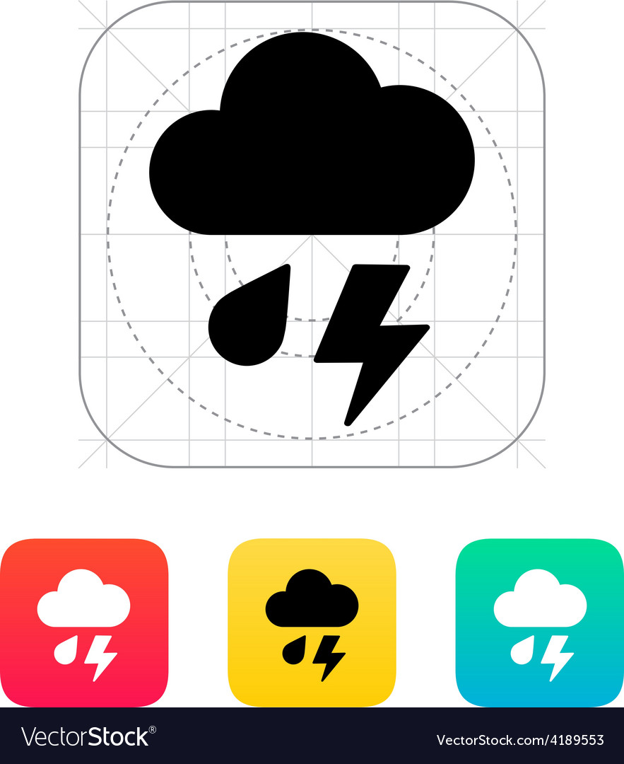 Rain with lightning weather icon vector | Price: 1 Credit (USD $1)