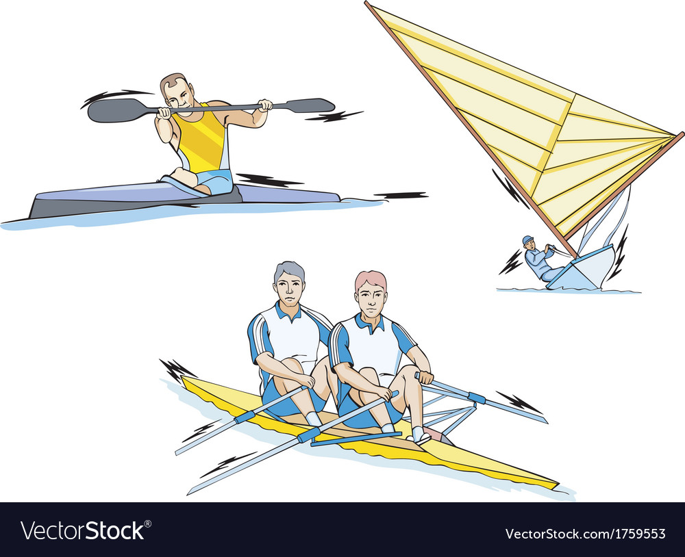 Water sports whitewater slalom rowing and sailing vector | Price: 1 Credit (USD $1)