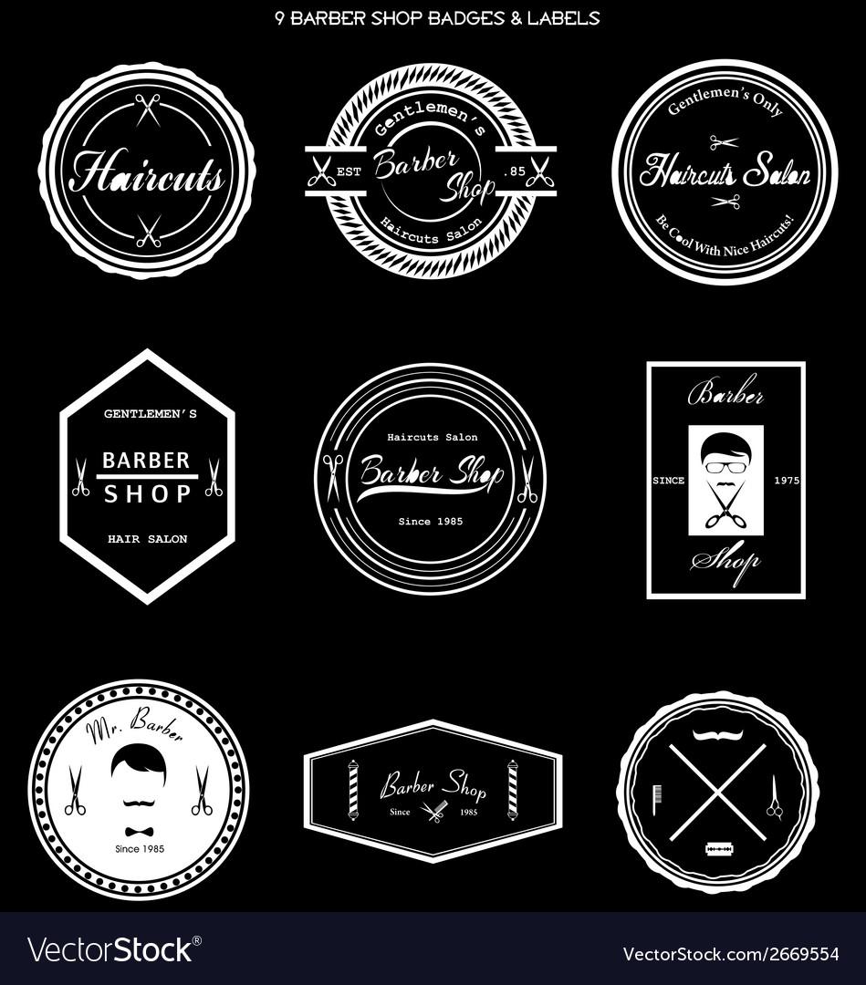Barber shop badges labels vector | Price: 1 Credit (USD $1)