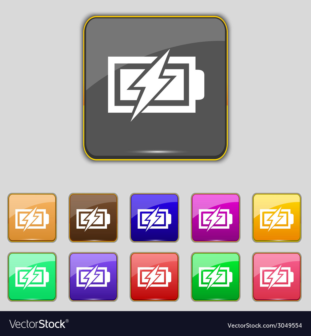 Battery charging sign icon lightning symbol set of vector | Price: 1 Credit (USD $1)