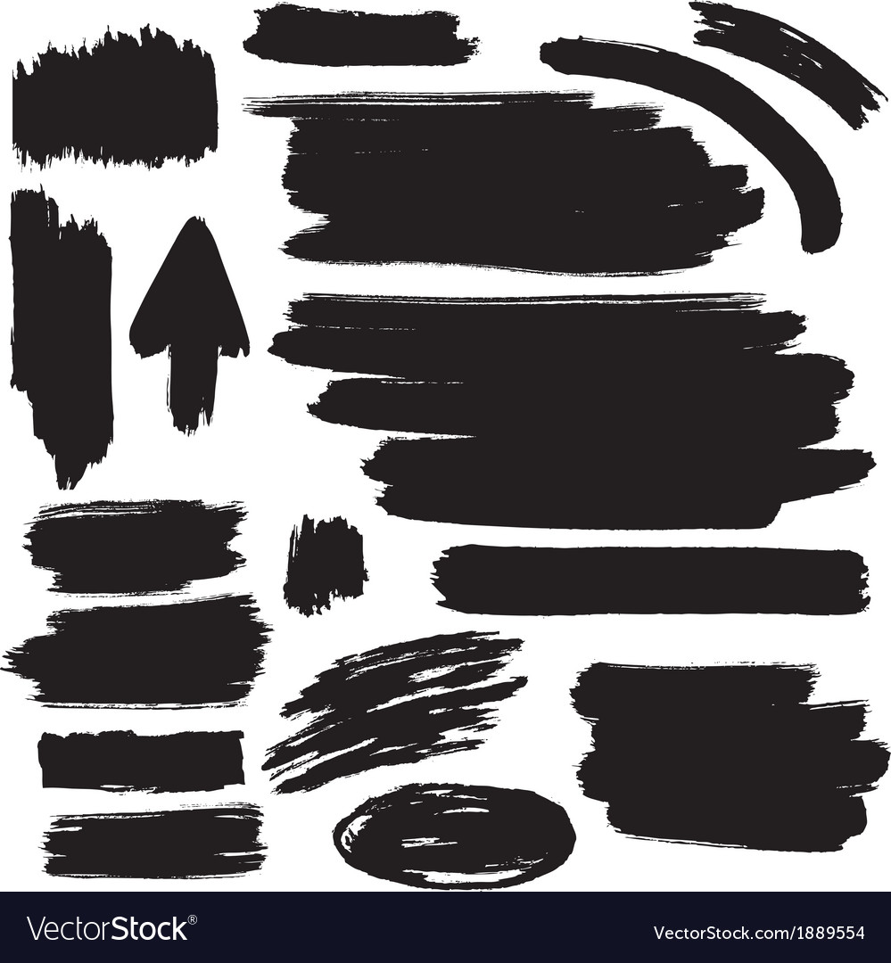 Black brush strokes collection vector | Price: 1 Credit (USD $1)