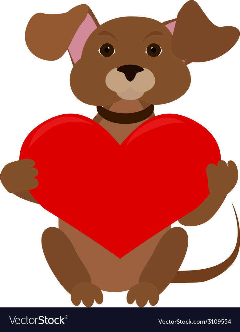 Dog with red heart vector | Price: 1 Credit (USD $1)