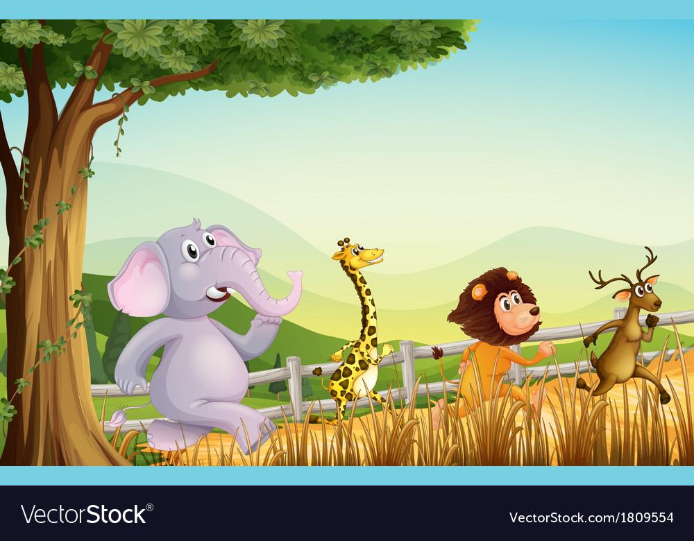 Four wild animals running vector   Price: 1 Credit (USD $1)