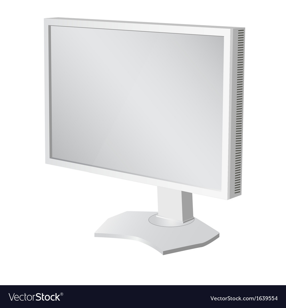 Lcd tv monitor on white background vector | Price: 1 Credit (USD $1)