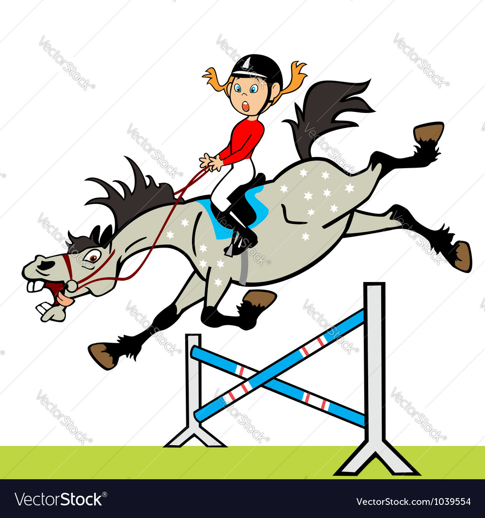 Little girl with horse jumping a hurdle vector | Price: 1 Credit (USD $1)