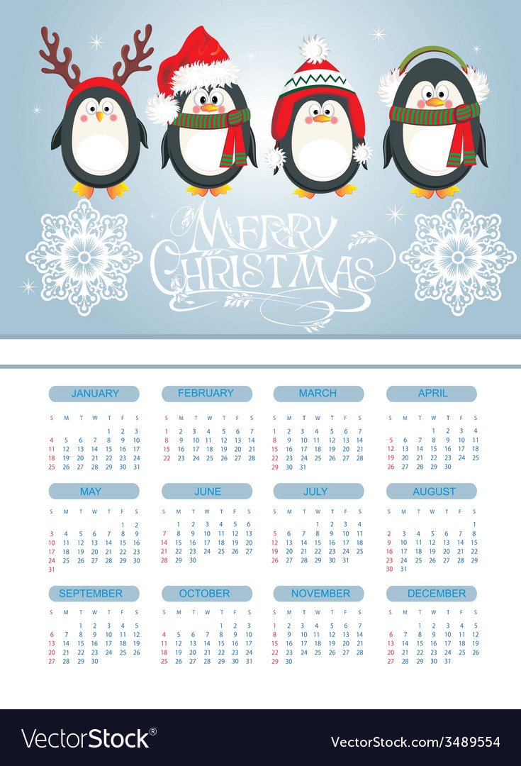 Merry christmas card with penguins vector | Price: 1 Credit (USD $1)