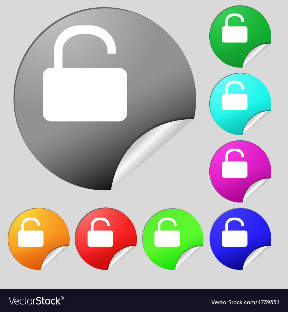 Open padlock icon sign set of eight multi-colored vector | Price: 1 Credit (USD $1)