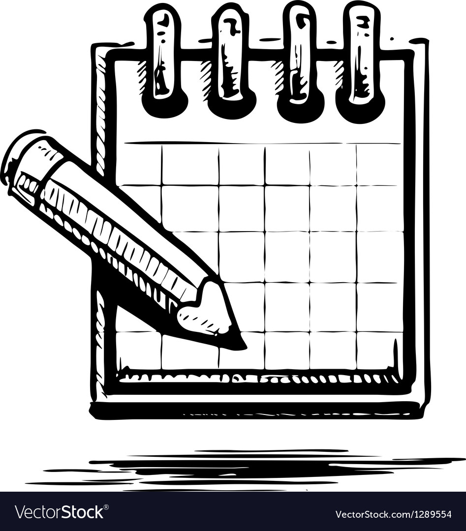 Organizer or planner with pencil vector   Price: 1 Credit (USD $1)