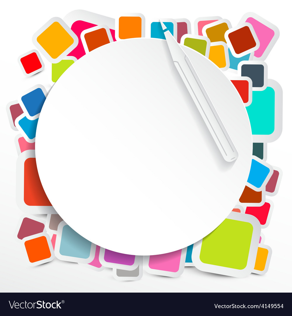 Paper circle on colorful square stickers vector | Price: 1 Credit (USD $1)