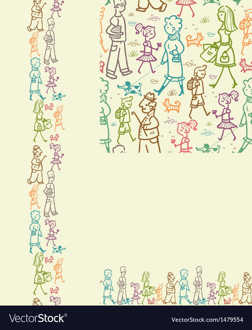People on the street seamless pattern background vector | Price: 1 Credit (USD $1)