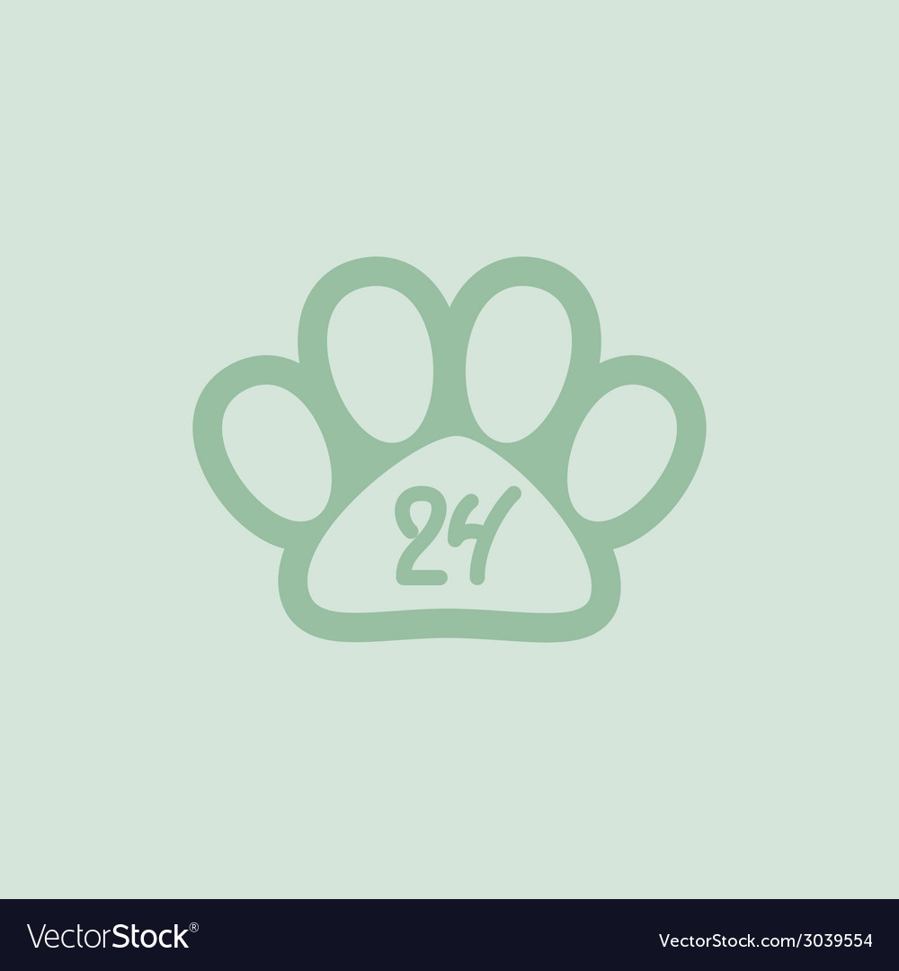 Pet paw 24 hours a day hand drawn numbers vector | Price: 1 Credit (USD $1)