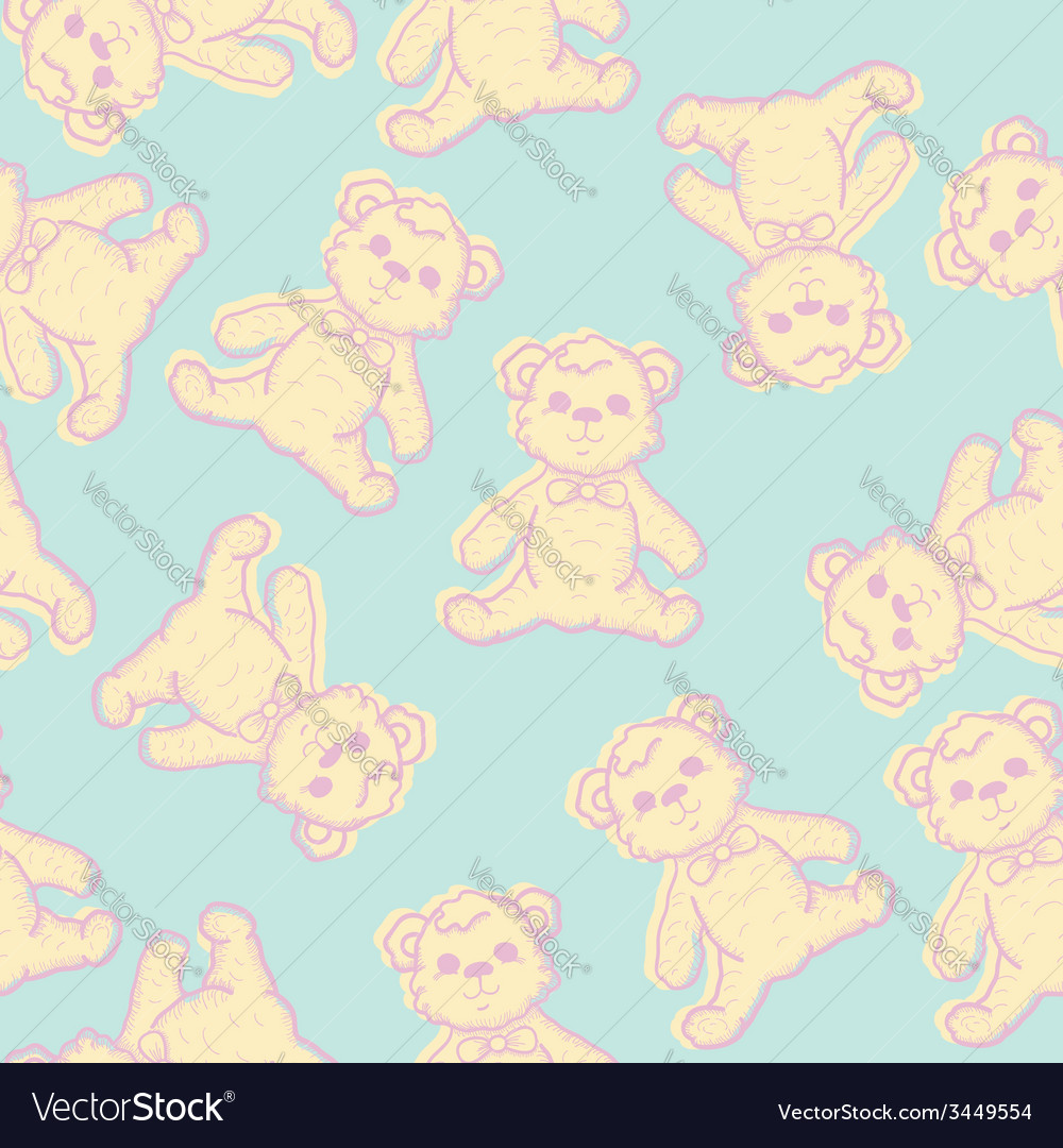 Seamless baby background with teddy bear vector | Price: 1 Credit (USD $1)