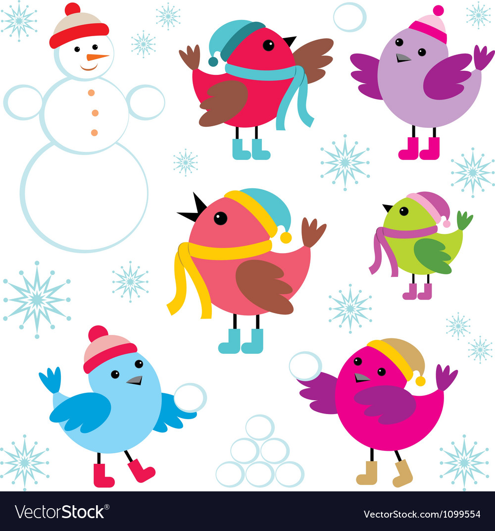Set of winter birds and snow man vector | Price: 1 Credit (USD $1)