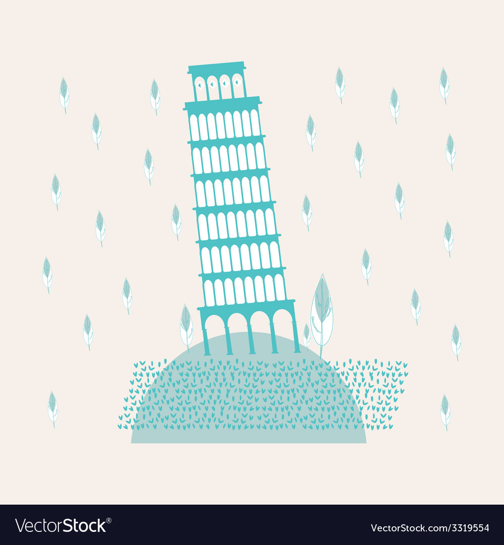 Tower of pisa sweetheart vector | Price: 1 Credit (USD $1)