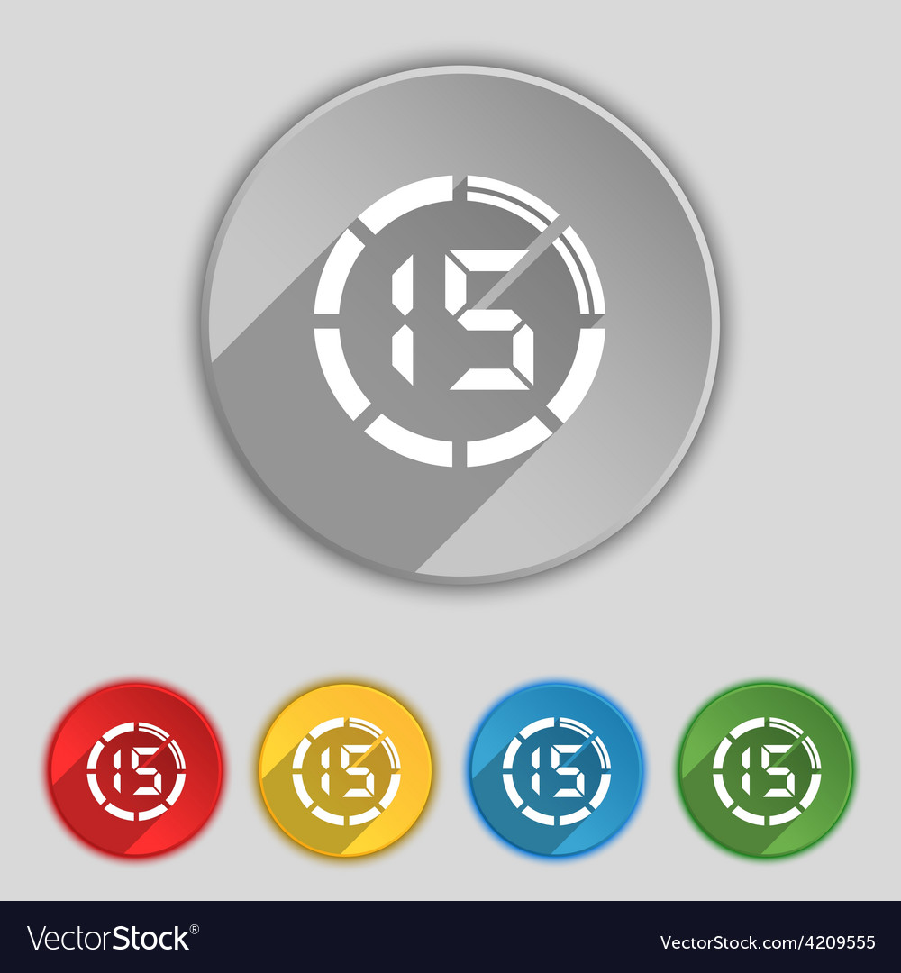 15 second stopwatch icon sign symbol on five flat vector | Price: 1 Credit (USD $1)
