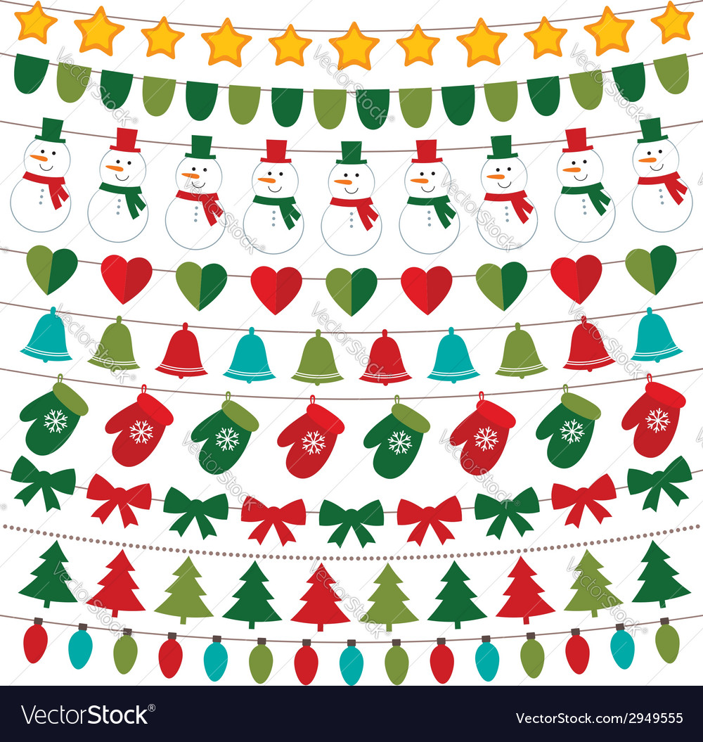 Christmas decoration set vector | Price: 1 Credit (USD $1)