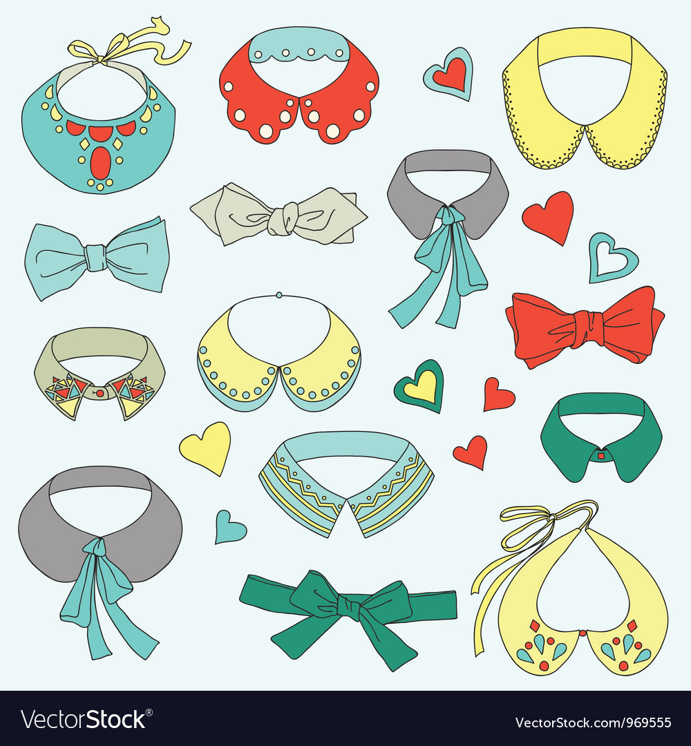 Fashion collar and bow tie set vector | Price: 1 Credit (USD $1)