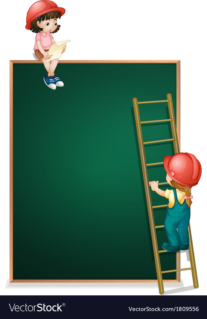 A girl sitting above the empty board and a girl vector | Price: 1 Credit (USD $1)