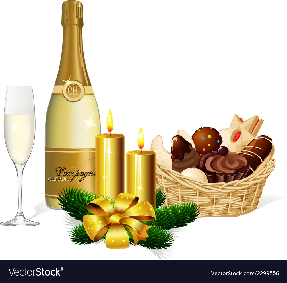 Christmas cookie champagne and candle isolated on vector | Price: 1 Credit (USD $1)