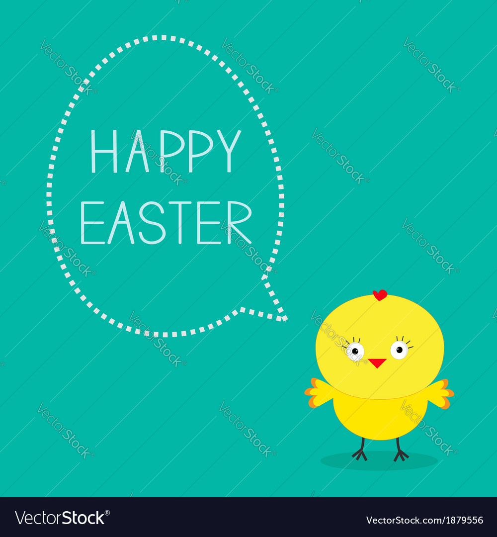 Easter chicken and dash bubble card vector | Price: 1 Credit (USD $1)