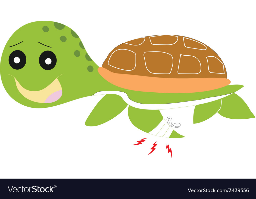 Green turtle painful isolated vector | Price: 1 Credit (USD $1)