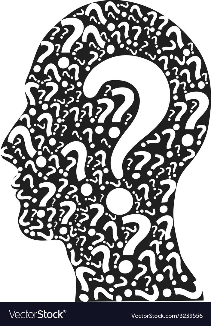 Human head filled with question marks vector | Price: 1 Credit (USD $1)