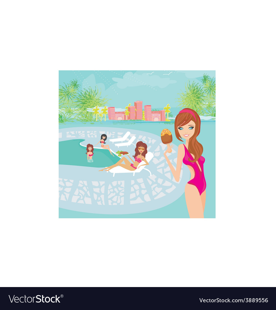 Image of girls and tropical pool vector | Price: 1 Credit (USD $1)