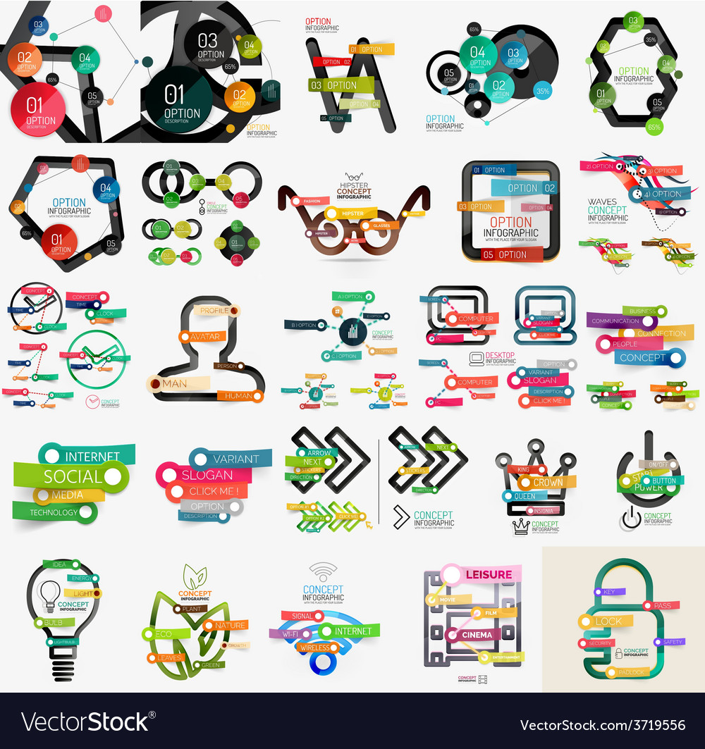 Mega collection of various web infographics vector