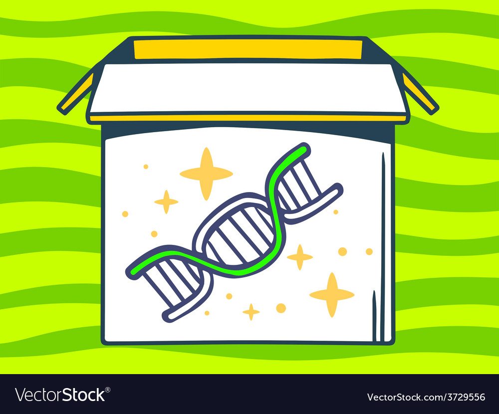 Open box with icon of dna molecule chain vector | Price: 1 Credit (USD $1)