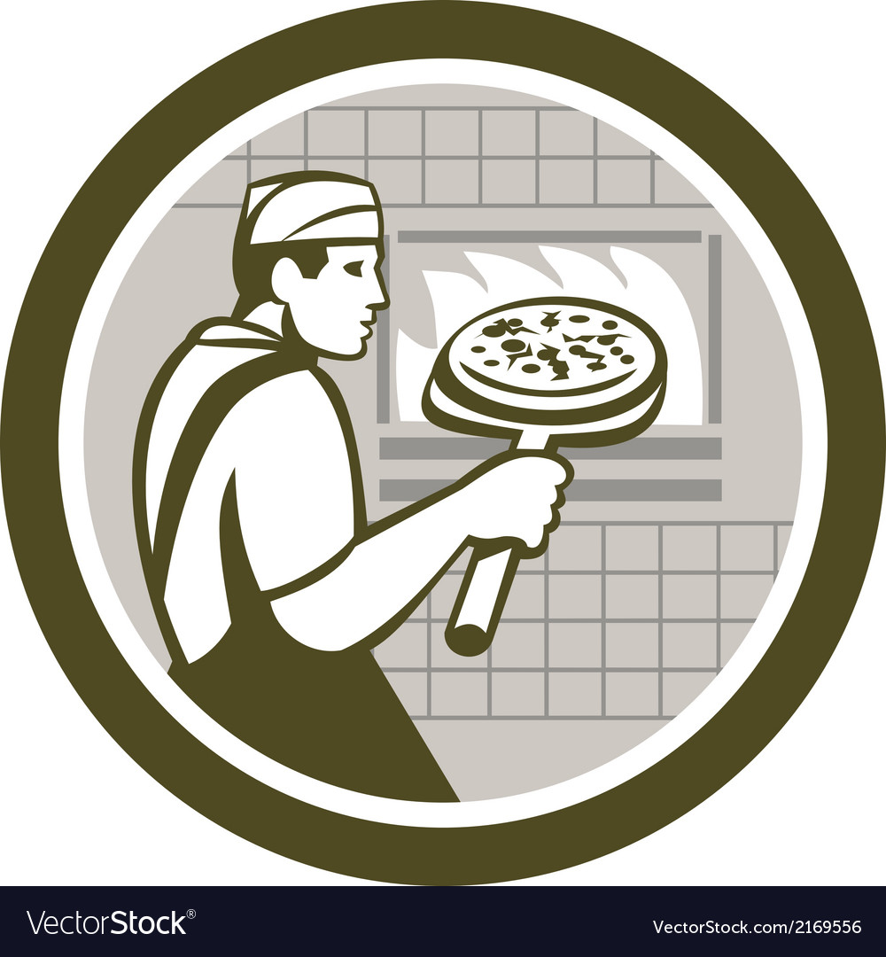 Pizza maker holding peel side retro circle vector | Price: 1 Credit (USD $1)