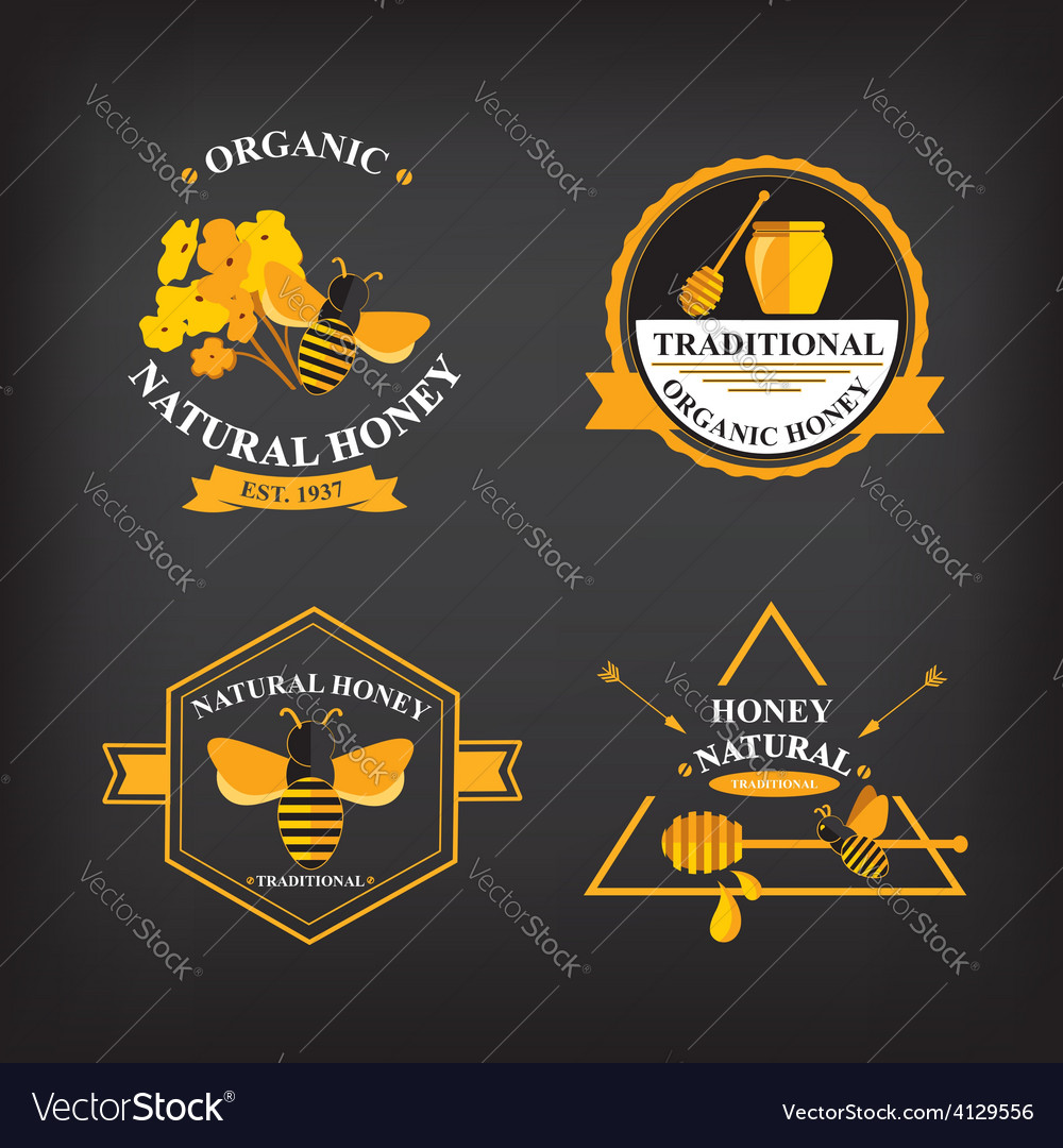 Set honey badges and labels abstract bee design vector | Price: 1 Credit (USD $1)